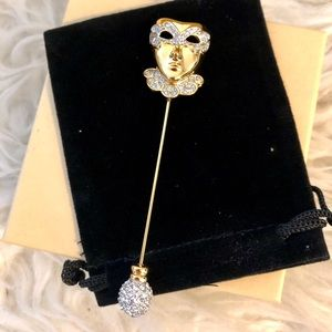 Swan Swarovski Crystal Masquerade Stick Pin Brooch